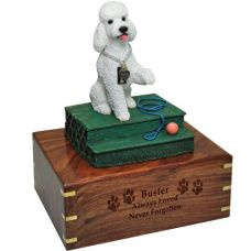 Pet Dog Cremation Wood Urn Poodle White Sport Cut w/ Breed Figurine