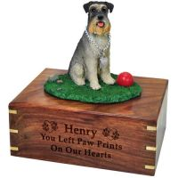 Pet Dog Cremation Wood Urn Schnauzer On Grass Ball w/ Breed Figurine