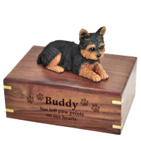 Pet Dog Cremation Wood Urn Yorkshire Terrier Puppycut Breed Figurine