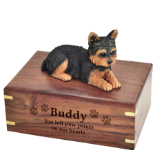 Pet Dog Cremation Wood Urn Yorkshire Terrier Puppycut Breed Figurine