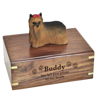 Pet Dog Cremation Wood Urn Yorkshire Terrier Ribbon w/ Breed Figurine