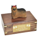 Pet Dog Cremation Wood Urn Yorkshire Terrier Ribbon w/ Breed Figurine -  - SWH003A,B,C,L-DF04