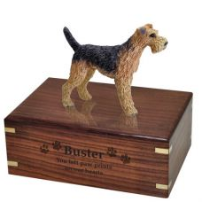 Pet Dog Cremation Wood Urns: Airedale w/ Breed Figurine