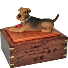 Pet Dog Cremation Wood Urns: Airedale with ball w/ Breed Figurine