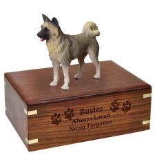 Pet Dog Cremation Wood Urns: Akita- Gray w/ Breed Figurine