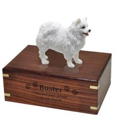 Pet Dog Cremation Wood Urns: American Eskimo w/ Breed Figurine