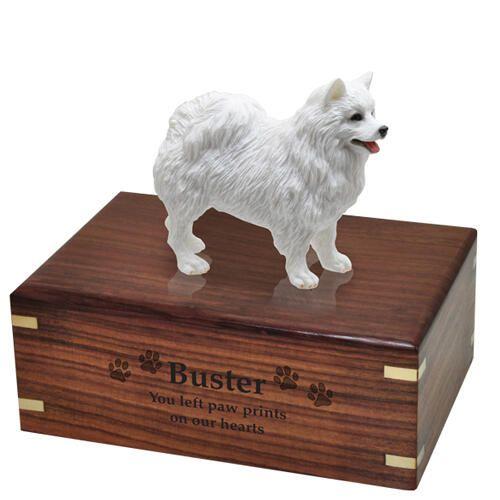 Pet Dog Cremation Wood Urns: American Eskimo w/ Breed Figurine -  - SWH003A,B,C,L-DF82