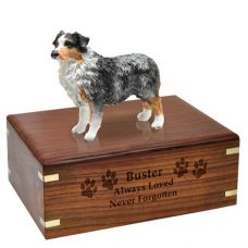 Pet Dog Cremation Wood Urns Australian Shepherd Blue w/ Breed Figurine