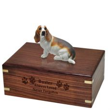 Pet Dog Cremation Wood Urns: Basset Hound, Sitting w/ Breed Figurine