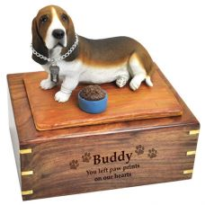 Pet Dog Cremation Wood Urns: Basset Hound w/ Breed Figurine