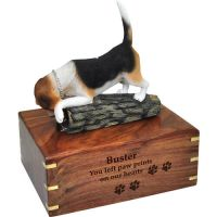Pet Dog Cremation Wood Urns: Beagle w/ Breed Figurine