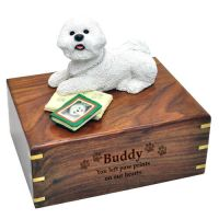 Pet Dog Cremation Wood Urns: Bichon Frise with Books w/ Breed Figurine