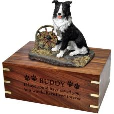 Pet Dog Cremation Wood Urns: Border Collie w/ Breed Figurine