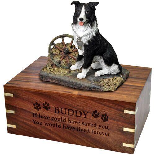 Pet Dog Cremation Wood Urns: Border Collie w/ Breed Figurine -  - SWH003C,L-DFL62