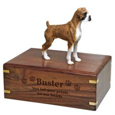 Pet Dog Cremation Wood Urns: Boxer Brindle Uncropped w/ Breed Figurine