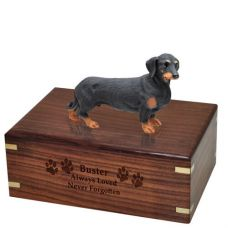Pet Dog Cremation Wood Urns: Dachshund Black w/ Breed Figurine