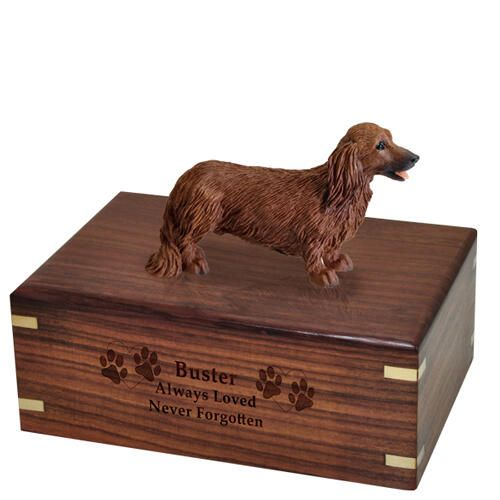 Pet Dog Cremation Wood Urns: Dachshund Red, Longhair w/ Breed Figurine -  - SWH003A,B,C,L-DF60A