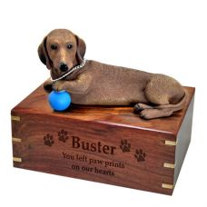 Pet Dog Cremation Wood Urns: Dachshund Red w/ Breed Figurine