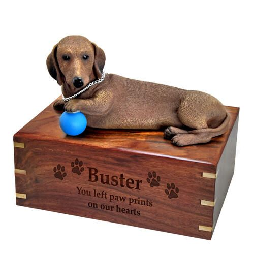Pet Dog Cremation Wood Urns: Dachshund Red w/ Breed Figurine -  - SWH-003C,L-DFL19A