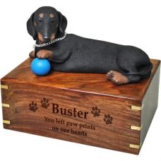 Pet Dog Cremation Wood Urns: Dachshund w/ Breed Figurine