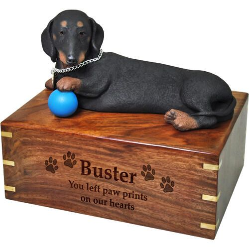 Pet Dog Cremation Wood Urns: Dachshund w/ Breed Figurine -  - SWH-003C,L-DFL19B