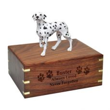 Pet Dog Cremation Wood Urns: Dalmatian w/ Breed Figurine