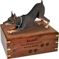 Pet Dog Cremation Wood Urns: Doberman Pinscher Red w/ Breed Figurine