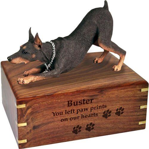 Pet Dog Cremation Wood Urns: Doberman Pinscher Red w/ Breed Figurine -  - SWH003C,L-DFL25B