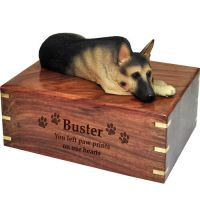 Pet Dog Cremation Wood Urns: German Shepherd- Laying w/ Breed Figurine