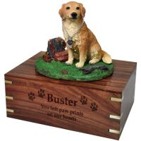 Pet Dog Cremation Wood Urns: Golden Retriever w/ Breed Figurine