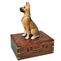 Pet Dog Cremation Wood Urns: Great Dane w/ Breed Figurine