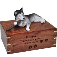Pet Dog Cremation Wood Urns: Husky with stick w/ Breed Figurine