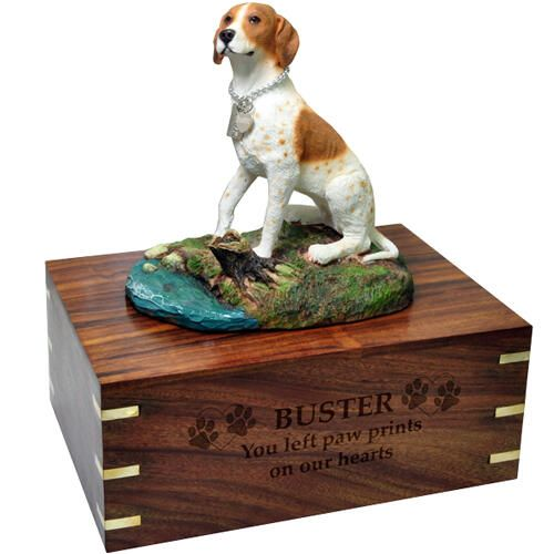 Pet Dog Cremation Wood Urns: Pointer w/ Breed Figurine -  - SWH003C,L-DFL106