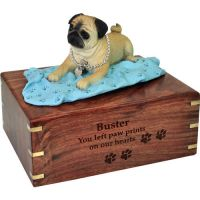 Pet Dog Cremation Wood Urns: Pug on blanket w/ Breed Figurine