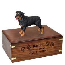 Pet Dog Cremation Wood Urns: Rottweiler w/ Breed Figurine