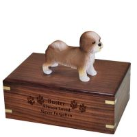 Pet Dog Cremation Wood Urns: Shih-tzu Puppycut Tan w/ Breed Figurine