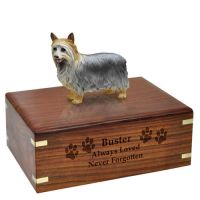 Pet Dog Cremation Wood Urns: Silky Terrier, Silver w/ Breed Figurine