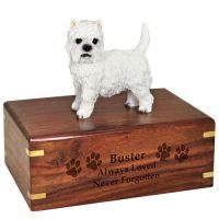 Pet Dog Cremation Wood Urns: West Highland Terrier w/ Breed Figurine