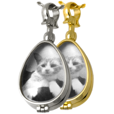 Pet Memorial Jewelry: Glass Teardrop Locket (not for ashes) Pendant