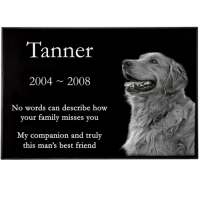 "Pet Photo Laser Engraved Granite Flat Headstone- 1"" thick"