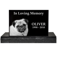 Pet Photo Laser Engraved Granite Headstone- Classical with base