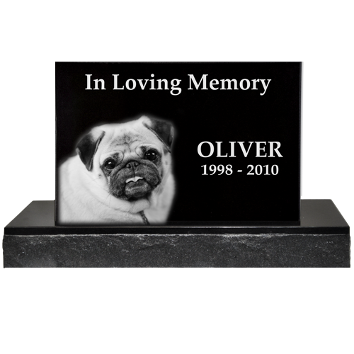 Pet Photo Laser Engraved Granite Headstone- Classical with base -  - GC04-12x8, GC04-14x9, GC04-16x10
