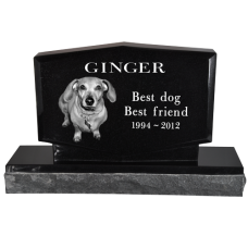 Pet Photo Laser Engraved Granite Headstone- Diamond