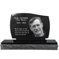 Pet Photo Laser Engraved Granite Headstone- Legacy