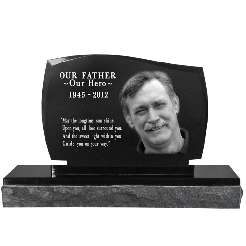 Pet Photo Laser Engraved Granite Headstone- Legacy -  - MG-G-8x12 legacy 2 piece