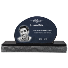 Pet Photo Laser Engraved Granite Headstone- Oblong