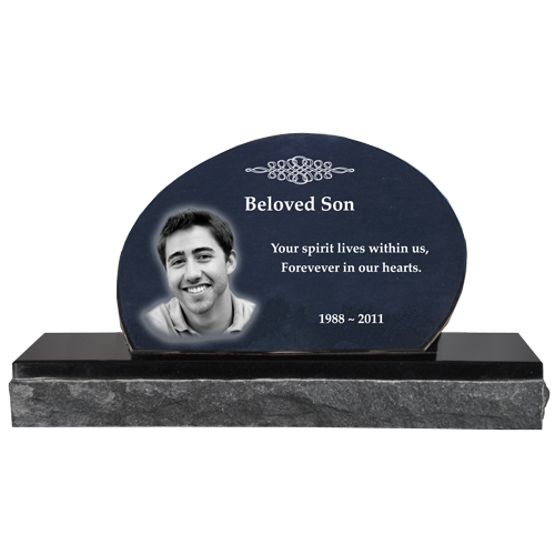 Pet Photo Laser Engraved Granite Headstone- Oblong -  - MG-G-8x12 oblong 2 piece