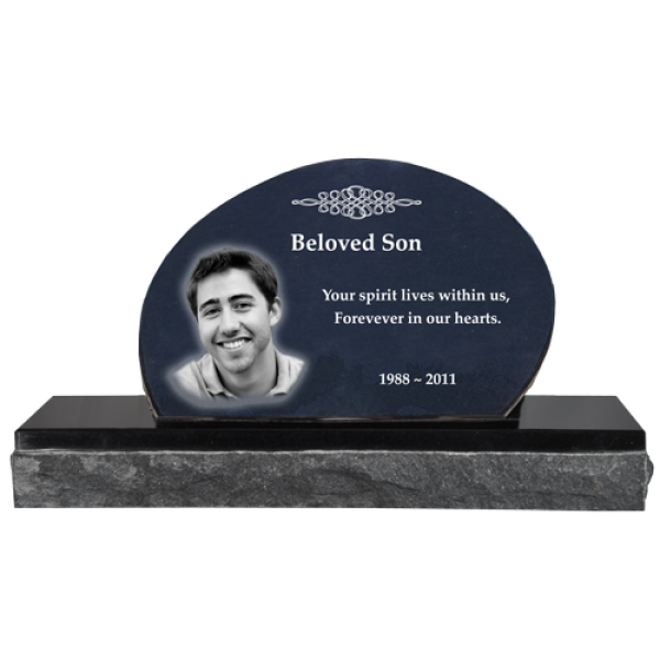 Pet Photo Laser Engraved Granite Headstone Oblong