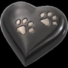 Pet Urn Keepake: Gun Metal Pawprint Heart