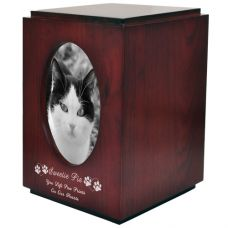 Pet Urns: Cherry Finish Cat Urn with Oval Photo Frame